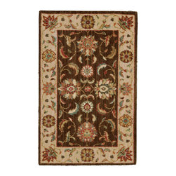 "Nourison - Nourison Living Treasures LI04 2'6"" x 4'3"" Brown Area Rug 66821 - Whirling and swirling in elegant arabesques, this beautifully woven floral design puts a new spin on tradition. Lush flowerheads burst with life on a field of richest sienna brown, with accents in sparkling ivory, papyrus and garnet."