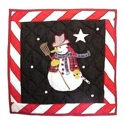 Patch Magic - Frosty Snowman Toss Pillow - 16 in. W x 16 in. L. 100% Cotton. Machine washable.. Line or flat dry onlyDecorative applique Quilted Pillow.