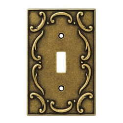 Liberty Hardware - Liberty Hardware 126348 French Lace WP Collection 3.15 Inch Switch Plate - Burni - The French Lace design communicates refined taste and cultivated style. It adds flavor and the appearance of elegant expression. The antique brass finish exudes warmth and the ambiance of sanctuary. Quality zinc die cast base material. Available in the 10 most popular wall plate configurations.. Width - 3.15 Inch,Height - 4.9 Inch,Projection - 0.3 Inch,Finish - Burnished Antique Brass,Weight - 0.34 Lbs