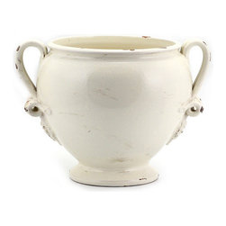 Artistica - Hand Made in Italy - SCAVO CLASSICO: Footed Cachepot w/2 handles ANTIQUE WHITE - SCAVO CLASSICO: Combining simplicity and elegance for your home and Garden...
