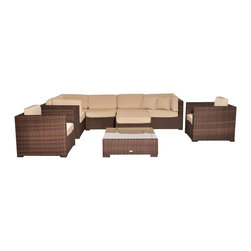 Amazonia - Southampton 9 Pc Deluxe Sectional Set - Set includes 3 Corner Chairs, 2 Middle Chairs, 2 Arm Chairs, Table, and Ottoman. Aluminum and Synthetic Wicker frame. Free feron gard vinyl preservative for longest strap durability. It works great against the effects of air pollution salt air, and mildew growth. For best protection, perform this maintenance every season or as often as desired. Dark Brown Wicker. Great functionality. Antique Beige Cushions. Cushions are included. Water Repellent Polyester Cushions. Warranty: 1 year. Corner Chair: 32 in. W x 32 in. D x 27 in. H. Middle Chair: 28 in. W x 32 in. D x 27 in. H. Ottoman: 28 in. W x 28 in. D x 13 in. H. Arm Chair: 31.5 in. W x 31.5 in. D x 27 in. H. Table: 34 in. W x 34 in. D x 12 in. HGreat quality, stylish design patio sets, made of aluminum and synthetic wicker. Sunbrella cushions. Enjoy your patio with elegance all year round with the wonderful Atlantic outdoor collection.