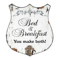 Home Decorators Collection - Vintage Bed and Breakfast Sign - Bring home the quaint feel of a bed and breakfast with this inspired sign. With a classic shield shape, scrolling script and weathered finish, you can't help but fall in love with this home accent. Crafted of quality materials for years of lasting beauty. A slightly distressed finish completes the vintage look.