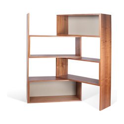 Temahome - Move Shelving Unit - The Move is a flexible two-toned shelving unit that can be pushed and swung out to occupy only the space you want to occupy.  It can be used flat against a wall or wrapped around a corner of your room.