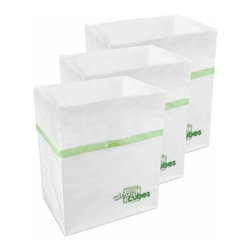 Clean Cubes - Clean Cubes Disposable Bin - 6-Pack - Simply brilliant. These bright white cubes let you fill up the trash bin, then simply tie up the top and throw the whole container out. And to shed a little more light on the subject, they are biodegradable, so taking out the trash is easy on your conscience too.