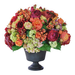 Winward Designs - Mixed Conservatory Planter Flower Arrangement - Hydrangeas, roses, viburnum and pepper berries overflow from this dark metal vase. It stands 21 inches tall.