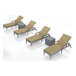 Forever Patio - Urbana 6 Piece Weathered Stone Patio Chaise Lounge Set, Heather Beige Cushions - The Harmonia Living Urbana 6 Piece Rattan Patio Chaise Lounge Set with Tan Sunbrella cushions (SKU HL-URBN-WS-6RLCS-HB) brings comfort and style to your outdoor space. Each chaise is constructed with durable, thick-gauged aluminum frames which are protected by a powder coating for superior corrosion resistance. The wicker is made of High-Density Polyethylene (HDPE) with its Weathered Stone color and UV resistance infused into the strands themselves. This creates a rich wicker color that holds up incredibly well with age. Thick, comfy cushions are covered in Canvas Heather Beige fabric by Sunbrella, the industry leader in mildew- and fade-resistant outdoor fabric. This chaise adheres to the highest quality standards for modern patio furniture in the market today, meaning it will last for years to come.