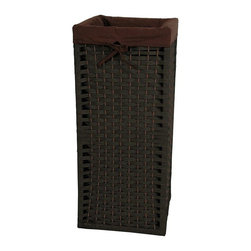 "Oriental Furniture - 28"" Natural Fiber Laundry Hamper - Black - This is a sturdy, light weight, and attractive square shaped basket, tall and narrow, with a 101 practical uses around the home. Throw dog or toddlers toys inside, gloves and scarves, umbrellas and walking sticks. The advantage is there is no lid to get in the way, a simple and very useful home decor accessory. Well crafted from spun plant fiber cord interwoven with 1/4"" wood dowel rods on a light weight wood frame."