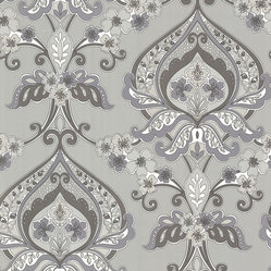 Ashbury Grey Paisley Damask Wallpaper. - This groovy paisley wallpaper has a Persian flower child vibe in varied grey and metallic silver hues.