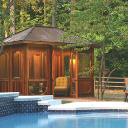 Cabana - This 8' x 12' Cabana has a copper roof, double door, removable screen inserts that can be exchanged for glass inserts.