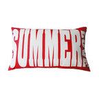 "5 Surry Lane - Indoor Outdoor Decorative Summer Love Word Pillow Modern Red - Indoor outdoor modern SUMMER LOVE word pillow.  100% soft polyester.  Withstands UV Rays.  Resistant to water, mold and mildew.  Hidden zipper closure.  Down insert included. 14x24"""