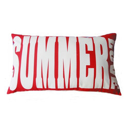 5 Surry Lane - Indoor Outdoor Decorative Summer Love Word Pillow Modern Red - Indoor outdoor modern SUMMER LOVE word pillow.  100% soft polyester.  Withstands UV Rays.  Resistant to water, mold and mildew.  Hidden zipper closure.  Down insert included. 14x24""