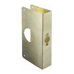 First Watch Security - Door Reinforcer Door Thickness 1-3/4 in. in Antique Brass - Repairs damaged doors. Assists in preventing forced entry. Backset: 2-3/4 in.. Door Thickness: 1-3/4 in.. 4-1/4 in. x 9 in.. Made from Solid Brass. Antique Brass Finish