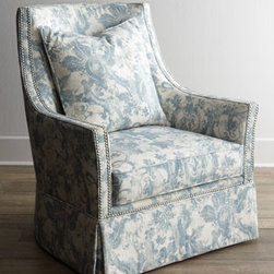 "Massoud - Massoud ""Mystic Blue"" Skirted Chair - Sumptuous and inviting—this skirted chair blends a brilliant blue pattern with accentuating nail head trim. It adds stylish elegance to any room. Hardwood frame. Linen and cotton upholstery. Includes pillow shown. Finished back. Suspended coil..."