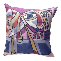 Modern Face Contemporary Pillow - For a truly refreshing change from stripes, florals and solids, toss this modern art repro into your mix. A colorful style statement in embroidered silk, perfect for your contemporary decor.