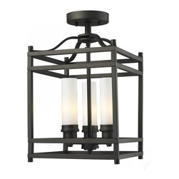 Joshua Marshal - Three Light Bronze Matte Opal Glass Cage Semi-Flush Mount - Finish: Bronze