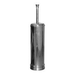 Gedy - Round Polished Chrome Toilet Brush Holder - Designer, vintage round toilet brush holder with bristle brush.