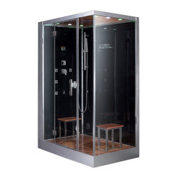 """Ariel Platinum - Ariel Platinum DZ961F8 Steam Shower - Enjoy the pleasures of the Ariel DZ961F8 steam shower in your home. These units are fully loaded with a steam shower enclosure, a built-in steam generator, and a FM radio which are all designed to greatly increase your therapeutic experience. We are confident that you will indulge in a state of complete relaxation and tranquility with all of these features  within these steam bath enclosures. Look below for the features and detailed specifications of this steam shower.    DZ961F8    Dimensions: 59"""" x 35.4"""" x 89.2""""  ETL listed (US & Canada electrical safety) 220v  Steam Sauna (6KW Generator)  Cleaning Function  Acupuncture Massage  Rainfall Ceiling Shower  Handheld Showerhead  6 Body Massage Jets  Chromatherapy Lighting  Computer Control Panel With Timer  FM Radio  2 Stools  Wooden Floorboard  Aromatherapy System (Oils not Included)  Ventilation Fan  Drain with Trap Include  Retrofit (Standard Bathtub Size)  Available in L/R"""