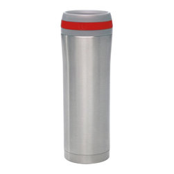 Chantal - Chantal 15oz. Stainless Steel Travel Mug with Red Band - Set of 2 Mugs with Lids - Shop for Travel Mugs and Tumblers from Hayneedle.com! The Chantal 15oz. Stainless Steel Travel Mug with Red Band - Set of 2 Mugs with Lids provides a pair of perfect travel companions for your busy lifestyle. Each of these fine mugs is ideally suited for transporting any beverage from coffee to iced tea and more. The stainless steel mugs feature a layer of copper sandwiched between the inner and outer layers ensuring your drink remains at an enjoyable temperature for as long as possible. Vacuum insulation helps prevent condensation build-up and a single-touch button on the lid allows you to drink easily without worry about spills. Pieces are dishwasher safe. About Chantal Cookware CorporationAs the most renowned name in enamel-on-steel cookware today US-based Chantal Cookware Corporation was the first to bring dramatic color tempered glass lids stay-cool handles and environmentally-friendly cookware for cooking serving and storing to the world's market. Founded in 1971 by engineer Heida Thurlow the first woman in the US to launch and run a cookware company Chantal has received 26 design and utility patents from the US and Germany.