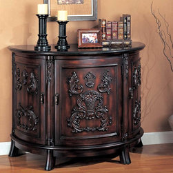 Coaster - Cherry Traditional Bombe Chest - Bold carvings accent this beautiful chest, featuring three storage doors in a rich cherry finish with a black marble top.