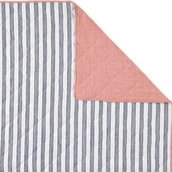 Serena & Lily - Railroad Stripe Quilt - We took a classic stripe and hit the refresh button. Loosened-up lines in French blue run up and down the front  thin white stripes are woven against red on the reverse. All-around diamond quilting adds nice loft and texture. The stripes on the coordinating sham run horizontally for playful contrast against these vertical lines.