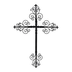 Black Metal Filigree 3D Wall Cross Sculpture - This metal wall cross is a beautiful addition to any room in your home. It features a gorgeous 3D filigree design on each of the ends, with a small cross in the center and decorative tips. This piece measures 23 3/4 inches tall, 16 1/2 inches wide, 1 1/4 inches deep and easily mounts to the wall with a single nail or screw.