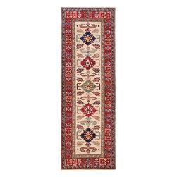 Rugsville - Rugsville  Kazak Ivory Wool 16506-267 2.6X7Rug - Our Super Kazak collection carries some of the finest pieces weaved in the Orient! These Kazaks are a modern shape