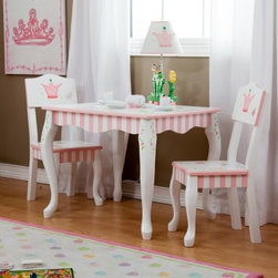 Teamson Design Princess & Frog Table and Chair Set - You'll see why the Princess & Frog Table and Chair Set will be home to tea parties, board games, puzzles, and more. The hand-painted whimsical design features frogs, crowns, and florals that would look great in a playroom or bedroom. With durable wood construction, this set could easily be passed on to the next generation. Look for the coordinating pieces to complete the theme.About Teamson Design Corp.Teamson is a wholesale gift and furniture company based in Edgewood, N.Y. Known for their wide selection of products, Teamson has been providing for customers since 1997 and produces high quality items that are sure to delight you and your family. Trust in Teamson for all of your home decor, furniture, and gift-giving needs.