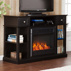 Southern Enterprises - Southern Enterprises Dayton Black Fireplace Media Console - HN4972-7 - Shop for Fire Places Wood Stoves and Hardware from Hayneedle.com! The contemporary style of the Southern Enterprises Dayton Black Fireplace Media Console is the perfect contrast to the cozy glow of flickering flames. Crafted from rugged MDF with an exterior of high-quality poplar with a painted black finish the style of this console is certainly appealing but the real draw is the classic charm and innovative function of the electronic fireplace. Generating enough heat to dry anyone's mukluks LED lights are employed to create flickering flames and glowing embers while the glass front remains cool to the touch. A simple remote control lets you adjust the temperature or brightness to meet the needs of your space. Plus you can enjoy the flames year-round with or without heat. Open storage shelves on either side of the fireplace are perfect for media or decorative objects while a pair of pull-out drawers give you the ideal spot for remotes or game controllers. The wide top can accommodate most flat-screen TVs and the open shelf just below gives you room to organize your game consoles or AV components. Don't worry about ventilation as this efficient and safe unit produces no gasses or harmful vapors. About SEI (Southern Enterprises Inc.)This item is manufactured by Southern Enterprises or SEI. Southern Enterprises is a wholesale furniture accessory import company based in Dallas Texas. Founded in 1976 SEI offers innovative designs exceptional customer service and fast shipping from its main Dallas location. It provides quality products ranging from dinettes to home office and more. SEI is constantly evolving processes to ensure that you receive top-quality furniture with easy-to-follow instruction sheets. SEI stands behind its products and service with utmost confidence.