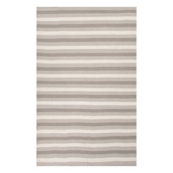 Jaipur Rugs - Indoor-Outdoor Easy Care Polyester Gray/Ivory Area Rug (3.6 x 5.6) - Bring the comfort of inside, outside, with these reversible woven rugs. Stripes can coordinate and can be used in multiple areas of the home or patio.