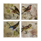 Vintage Look Bird Canvas Wall Decor - Set of 4 - *Set of four decorative wall art featuring romantic bird studies, exclusive design.