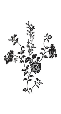 """WallPops - Brocade Wall Art Decal Kit - Create the look of embroidered flowers on your wall with the Brocade wall art kit. These WallPops decals can be arranged to best fit your space and they are accomplished in a classic palette of black and grey. Brocade Kits are printed on two 17 1/2"""" x 39"""" sheets, and contain 11 pieces.  Brocade Kits are repositionable and totally removable."""