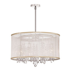 Dainolite - Dainolite 85302-PC-117 8 Light Crystal Chandelier Pc Finish - Dainolite 85302-PC-117 8 Light Crystal Chandelier PC Finish Oyster Organza Drum Shade