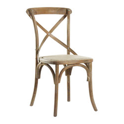 Zentique - Parisienne Caf Chair - Limed Grey - Transport yourself to old-world Paris with a set of vintage-style café chairs. Pick from three rattan and oak finishes for a charming look that is just right for your kitchen or dining room. All that's missing is a tray of chocolate croissants and big cups of café au lait.