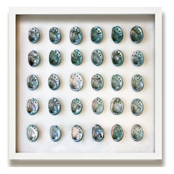 Kathy Kuo Home - Corolla Coastal Beach Teal Blue Abalone Shell Wall Decor - by Karen Robertson - Send in the marine. Looking for a strong, nautical statement to command attention? This parade of iridescent abalone shells will come to your aid with style.