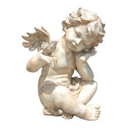 Ladybug - Winged Cherub Statue in Parthenon Finish - Weather resistant finish. 1-Year warranty. Made in USA. Made of pecan shell resin. 8 in. W x 8 in. D x 13.50 in. H (9 lbs.)The finishes are applied by hand, enhancing every detail, and resulting in the uniqueness of no two pieces being exactly alike. Each individually hand-crafted piece of Ladybug product is cast in a crushed marble or resin composition which has the ability to capture and reproduce the same definition and minute detail as the original. It is a substantial, non-porous material which does not absorb moisture, making it ideal for outdoor use, although it offers the strength and durability required to endure even extreme weather conditions.