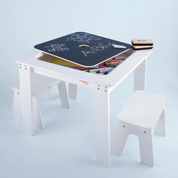Kids Reversible White Chalkboard Table - This table is fun and functional. The top is a reversible chalkboard, and its hidden storage space can hold all sorts of chalk or other goodies. It's also made of a durable and easy-to-wipe fiberboard, which is a definite plus.