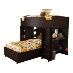 South Shore - South Shore Logik Twin Loft Bed in Chocolate Finish - South Shore - Bunk Beds - 335908XKIT1 - This loft bed is a great solution for optimizing space in small bedrooms. It has been designed to be both safe and practical with lots of storage space. It is composed of a loft bed storage unit a top bed a ladder and a loft bed desk.Includes: