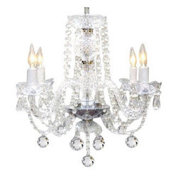 The Gallery - Murano Venetian style All Crystal chandelier - This magnificent chandelier is all 100% crystal. Nothing is quite as elegant as the fine crystal chandeliers that gave sparkle to brilliant evenings at palaces and manor houses across Europe. This beautiful chandelier is decorated with 100% crystal that captures and reflects the light of the candle bulbs, each resting in a scalloped bob ache. The crystal arms of this wonderful chandelier give it a look of timeless elegance that is sure to lend a special atmosphere in any home.