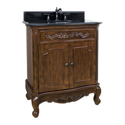 """Hardware Resources - 30-1/2"""" Wide MDF Vanity  VAN062-T - This 30-1/2"""" wide MDF vanity features carved floral onlays and French scrolled legs for a traditional feel. The Nutmeg finish adds depth to this vanity. A large cabinet provides ample storage.  This vanity has a 2CM black granite top preassembled with an H8809WH (15"""" x 12"""") bowl, cut for 8"""" faucet spread, and corresponding 2CM x 4"""" tall backsplash.  Overall Measurements: 30-1/2"""" x 20-1/4"""" x 35-1/2"""" (measurements taken from the widest point) Finish: Painted Nutmeg Material: MDF Style: Traditional Coordinating Mirror(s): MIR062 Bowl: H8809WH"""
