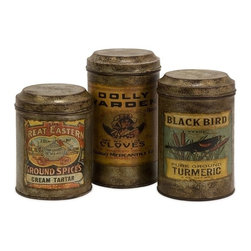 "IMAX CORPORATION - Addie Vintage Label Metal Canisters - Set of 3 - Set of three antiqued metal canisters each with a distinctive vintage label. Comes in various sizes measuring around 19""L x 11""W x 16""H each. Shop home furnishings, decor, and accessories from Posh Urban Furnishings. Beautiful, stylish furniture and decor that will brighten your home instantly. Shop modern, traditional, vintage, and world designs."