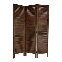 Oriental Unlimited - 6 ft. Tall Classic Venetian Room Divider (3 P - Finish: 3 Panels / Burnt BrownLouvered slat design allows light & air to pass through. Well crafted from solid wood, sturdy & substantial. Double sided design looks great from both the front or back side. The wooden slats are fixed, not adjustable like venetian blinds. Great for defining space, redirecting foot traffic, temporarily hiding a an unsightly area, or blocking light from a window or door. 3-Panels. Shown in Burnt Brown. 16.5 in. W x 67 in. H (per panel)This is a traditionally styled louvered panel screen, with open wood slats allowing light and air to pass through.. Designed to look equally attractive from front or back, solid wood means an extra durable and substantial, long lasting piece of quality furniture.