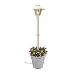 """PLC - Cape Cod White Single Coach Lantern Planter - Design inspired by turn of the century gas flame lanterns. This electric waterproof lantern planter features frosted bevel panels, white resin construction and granite colored resin planter base. Two level dimming switch and 10 ft. weatherproof cord and plug. 1-100 watt bulb maximum. Dimensions: 80"""" tall x 21"""" diam. planter base"""