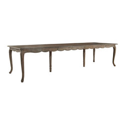 French Country Dining Table with Leaves - A delightful dining table, this French Country style table features a solid birch wood construction. Each table comes with five leaves, allowing you to extend this table from a small family size to a long, large dining table