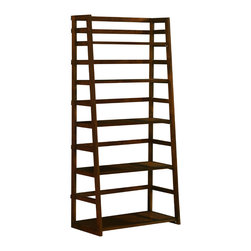 Simpli Home - Acadian 30 inch wide x  63 inches high Ladder Shelf Bookcase in Tobacco Brown - Sometimes a room calls for a light and airy touch.  The Acadian Ladder Shelf Bookcase is easy to assemble, easy to install and beautiful to behold.  The unit can be used alone or in multiples to create a wall storage system.  With its four shelves, this ladder shelf is designed to have flexible storage for books, curios, accessories, sculptures or decorative accents.  Perfect for living rooms, offices, bedrooms, hallways and family rooms.