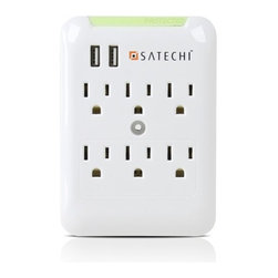 Satechi - Satechi Slim Surge Protector White (6 AC & 2 USB) 2.4 amp USB Output - The Satechi Slim Surge Protector provides protection from electrical spikes and surges that can be devastating to both expensive electronic equipment and valuable data. It includes six protected power outlets and two USB charging ports that delivers enough power to charge all power hungry devices including the New iPad, iPhone 6, 5S, 5C, 5, and 4S, Samsung Galaxy S5, S4, S3, Note 2, and any other tablet or smartphone.