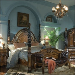 AICO Furniture - Oppulente Poster Bedroom Set in Sienna Spice - 67010-52 - Set includes your choice of Poster Bed and 1 Bedside Chest