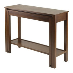 Winsome Wood - Brandon Expandable Console Table - Our Brandon Expandable Table Collection creates a unique look for your living room and provide extra space when needed. Each table comes with a bottom shelf and pull out table on casters. Constructed with combination of solid and composite wood in antique walnut finish.