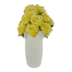 Laura Cole - Nicolette Faux - Roses in White Ceramic Vase - Add a splash of romance to any room with this exquisite permanent bouquet of yellow roses in a ceramic vase. This elegant Open Rose Silk Flower Arrangement is brimming with a large number of rich, deep-colored roses. Finished with a gorgeous ceramic vase designed to coordinate with any decor, this beauty will bring color and life into any space.