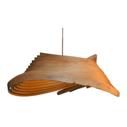 ecofirstart - 'Witherslack Knot'  Pendant Light - Finely tuned to create a stylish profile that looks good from every angle, this piece playfully filters out light through the gaps between the solid wood. Made from a single piece of Ash, it is split and steam-bent into a knot before assembly. Its transformation into a shade for your home is a dramatic process and one that is popular with visitors to the workshop. The pendant shade is stunning and intriguing in profile as a form suspended in space. The name? Witherslack is the name of the Village and the Woods where we live in Cumbria, and the form of this design was both conceived in and inspired by the surrounding landscape. It is called 'Witherslack Knot' because every shade is made from one piece of wood that has been steam-bent and physically tied in a knot as part of the making process. Shipping from England is included in the price.