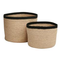 Tag Everyday - Jute Storage Baskets, Set of 3 - Includes (3) natural color baskets with black dyed rim. Natural woven jute. Includes one small basket, one medium basket, and one large basket.